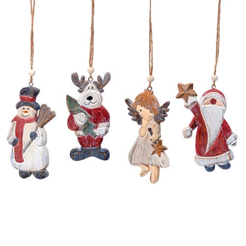 Hanging Wood Christmas Decoration - 4 designs