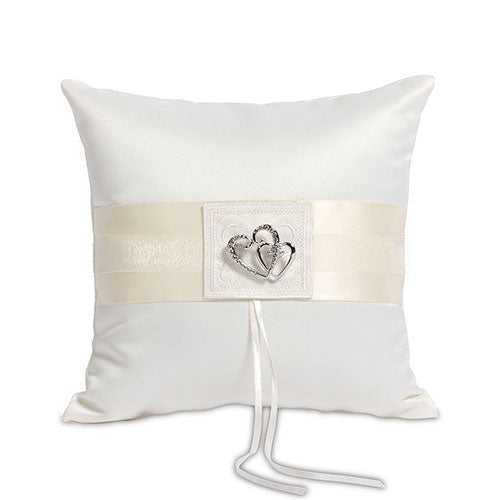 Ring Pillow Ivory Double Heart