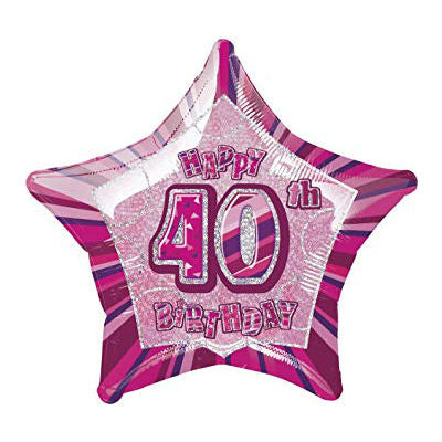 Balloon Foil Star Shape - Dazzling Pink - 40th Birthday 20''