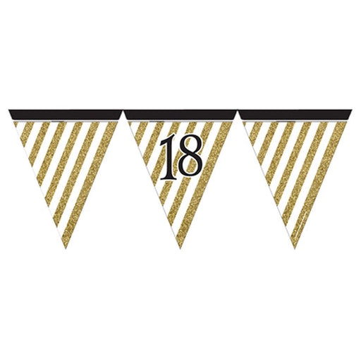 Black & Gold 18 Flag Bunting