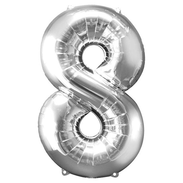 Balloon Foil Number - 8 Silver - 34""