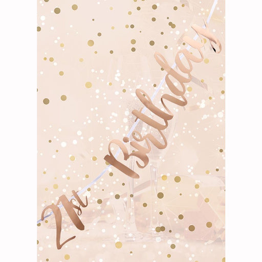 Letter Banner - 21st Birthday - Rose Gold Script