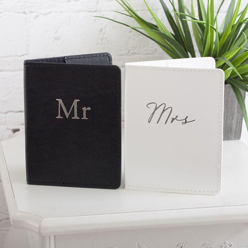 Passport Holders Black and White MR and MRS
