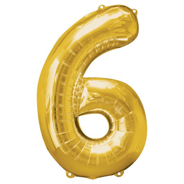 Balloon Foil Number - 6  Gold - 34""