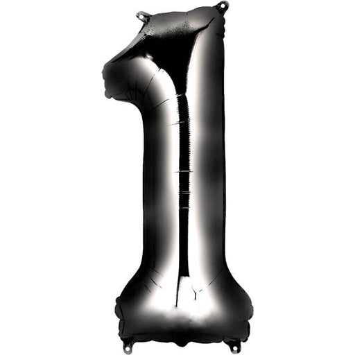 Balloon Foil Number - 1 Black - 34""