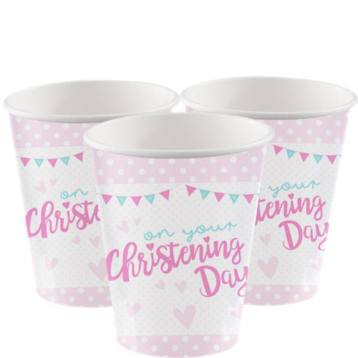 Party Cups - Christening Day Pink - 8pk