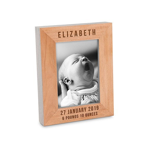 Custom Wooden Picture Frame With Grey Edges - Top and Bottom Personalization