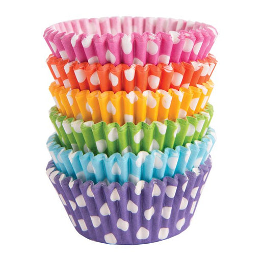 Cupcake Cases - Multicoloured with White Polka Dots - 150pk