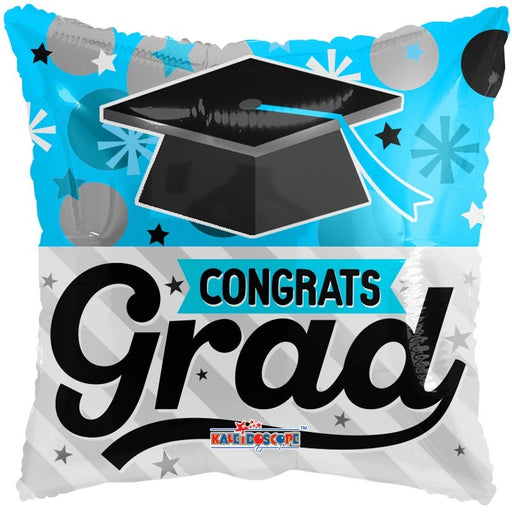 Balloon Foil Square Shape - Graduation Blue - 18''