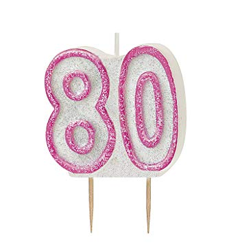 Dazzling Effects 80th Birthday Candle - Pink