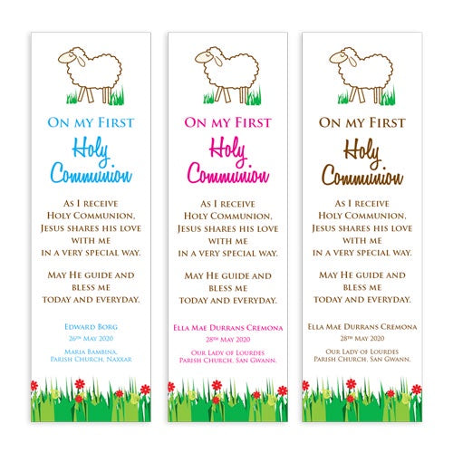 Bookmarks Personalized - Holy Communion - Sheep Design - BMK01-09