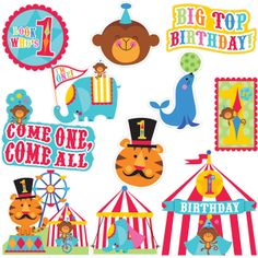 Circus Time 1st Birthday Card Cutouts