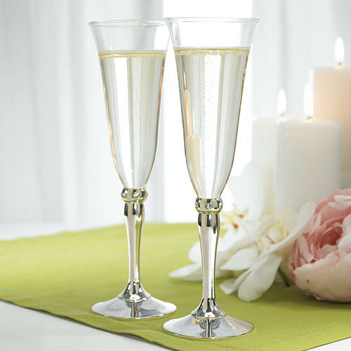 DC - Silver Plated Stem With Crystals Goblets - Champagne Glasses