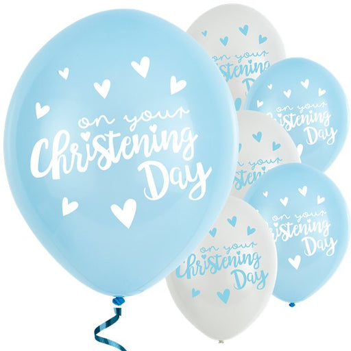 Balloons Latex - Blue and White - Christening Day 6pk