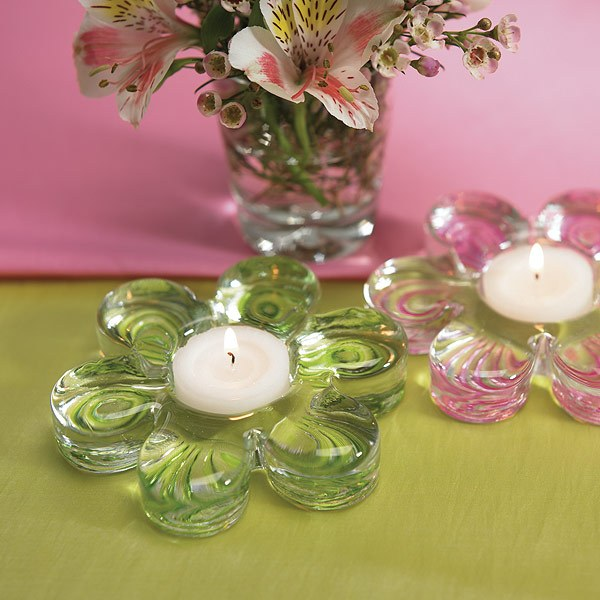 Candle Glass Pink Flower
