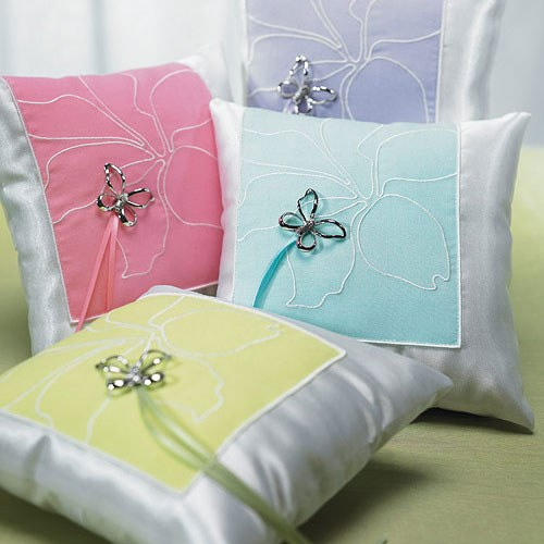 Butterfly Dreams Square - Ring Pillow - Pink