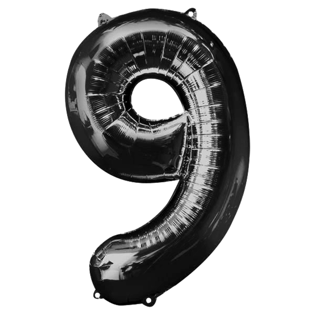 Balloon Foil Number - 9 Black - 34""