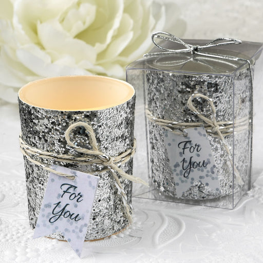 Silver Glitter Glass Candle Holder