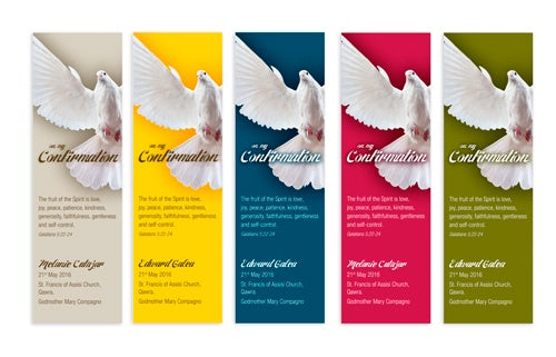 Bookmarks Personalized - Confirmation - Dove in Flight - Off-Centred - BMKCON0215