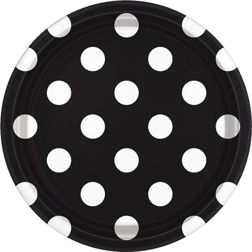 Lunch Plates - Black Polka Dot - 8pk