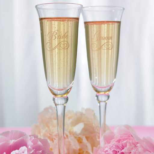 Champagne Glasses - Wedding -  Etched Bride Groom Flutes