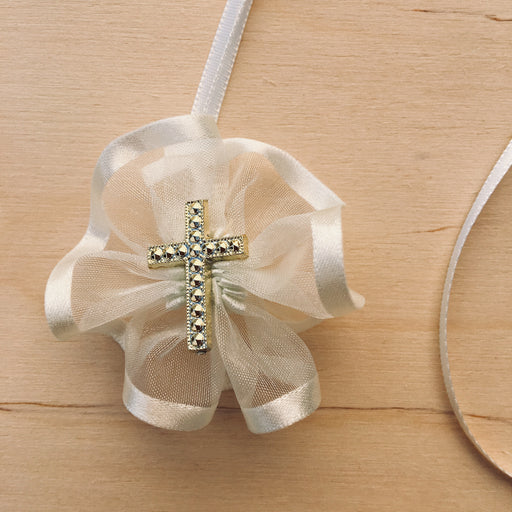 Domna for Girls - Ivory Organza with Gold Cross