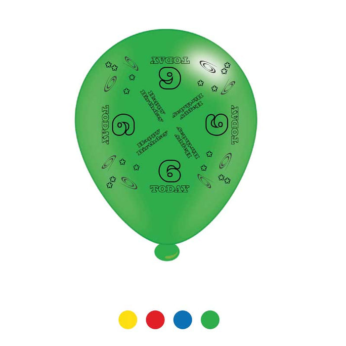 Balloons Latex - Birthday Age 6 - Mixed Colours - 8pk