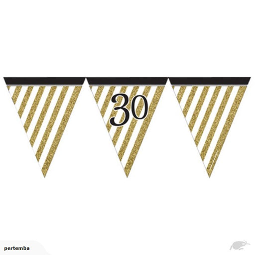 Black & Gold 30 Flag Bunting