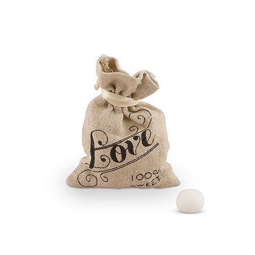 Drawstring Bags Linen - Love Design - 12pk