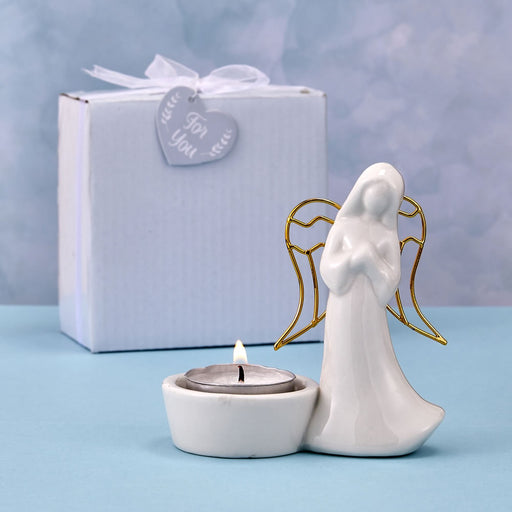 DC Ceramic Angel Candle Holder with Gold Wings