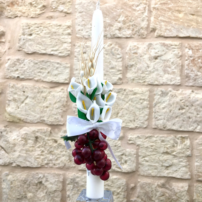 Boy Candlestick - White - Calla Lily & Red Grapes Design