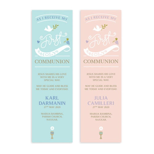 Bookmarks Personalized - Holy Communion - Modern Design - BMK05-18
