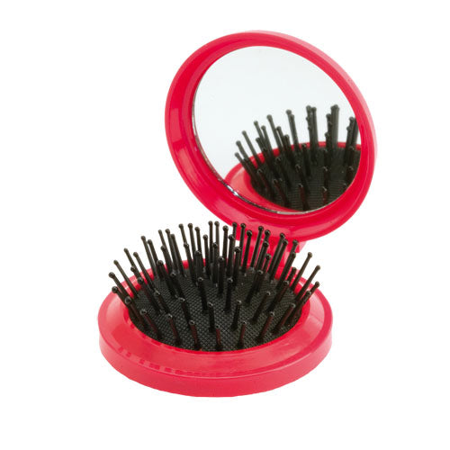 Hairbrush with Mirror Glance - Red