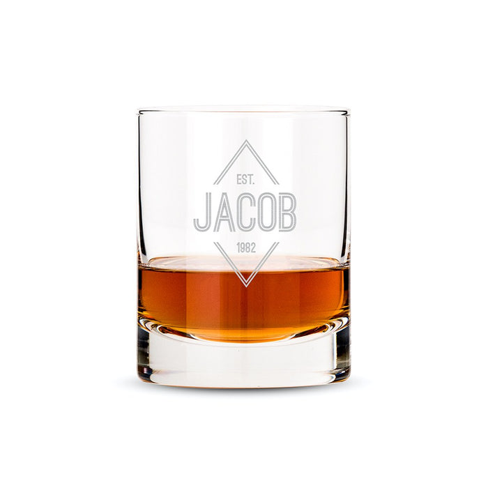 Personalised Whiskey Glass - Diamond Emblem