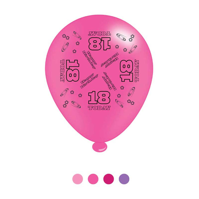 Balloons Latex - Birthday Age 18 - Mixed Colours - 8pk