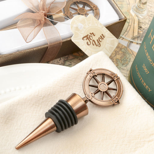 Copper compass design bottle stopper - DC