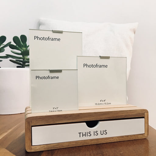 'This Is Us' Glass Picture Frame And Wooden Desk Organiser - Modern Centred Print