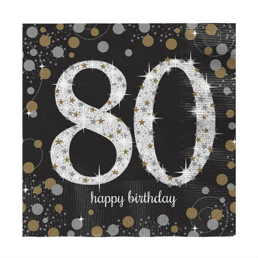 Lunch Napkins - Sparkling Celebration Age 80 - 16pk