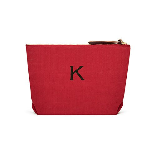 Women's Personalised Napa Linen Makeup Bag- Red