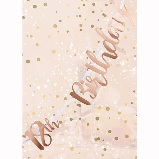 Letter Banner - 18th Birthday -  Rose Gold Script