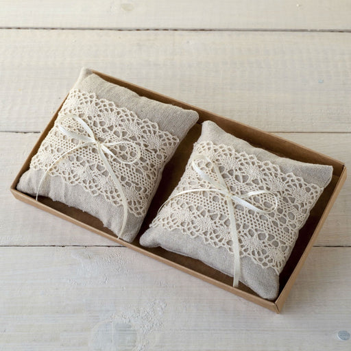 Ivory and Lace Small Ring Pillows in Kraft Tray