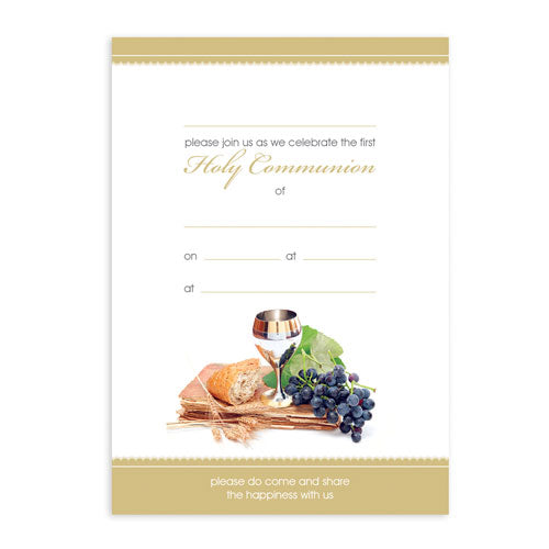 Invitations Fill-in - Holy Communion - Chalice, Grapes and Bread 20pk
