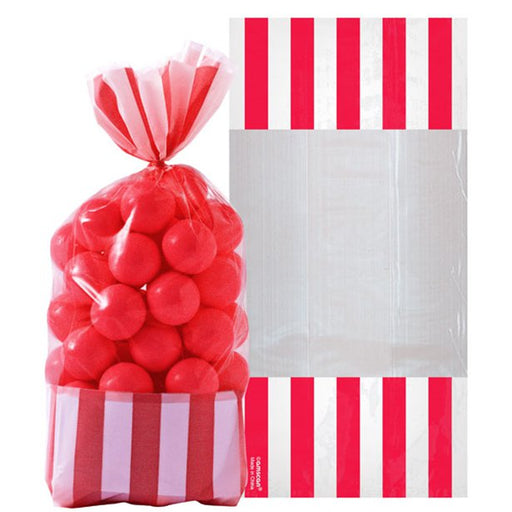 Striped Cellophane Sweet Bags - Apple Red