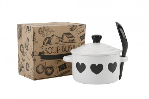 Heart - Soup Bowl & Spoon - White