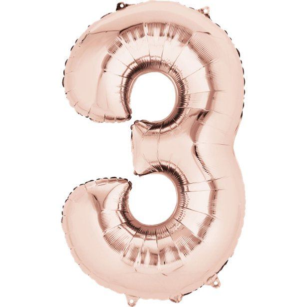 Balloon Foil Number - 3 Rose Gold - 34""