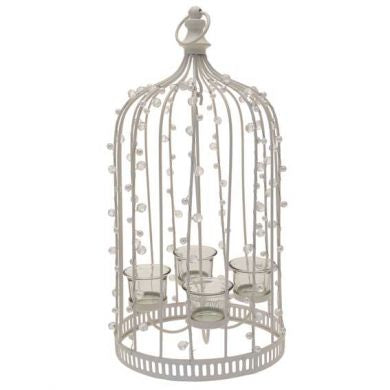 Bird Cage Candleholder With Beads