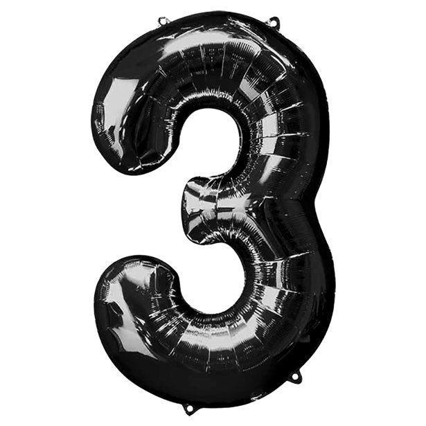Balloon Foil Number - 3 Black  - 34""