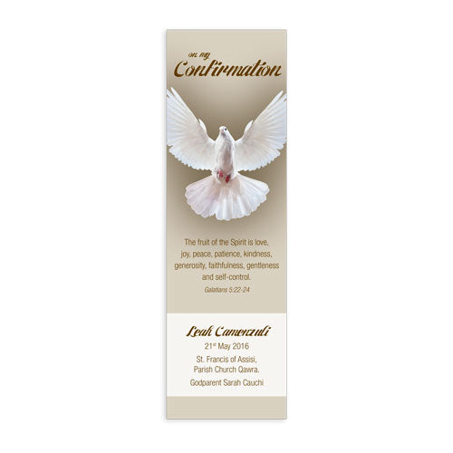 Bookmarks Personalized - Confirmation - Dove In Flight -  Centred  - BMKCON0315