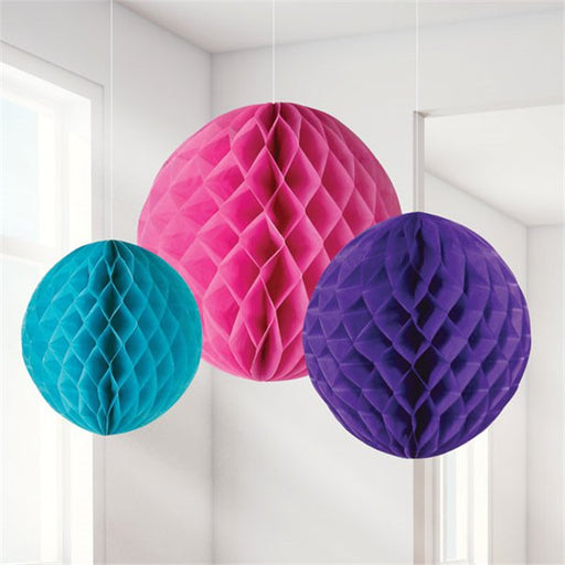 Hanging Decorations - Honeycombs Bright 3pk