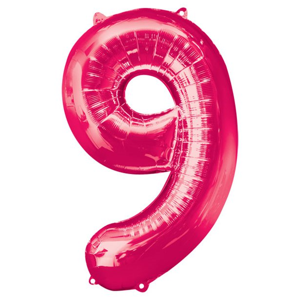 Balloon Foil Number - 9 Pink  - 34""